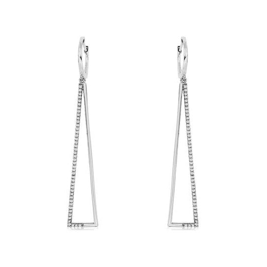 14k White Gold Diamond Triangle Earrings