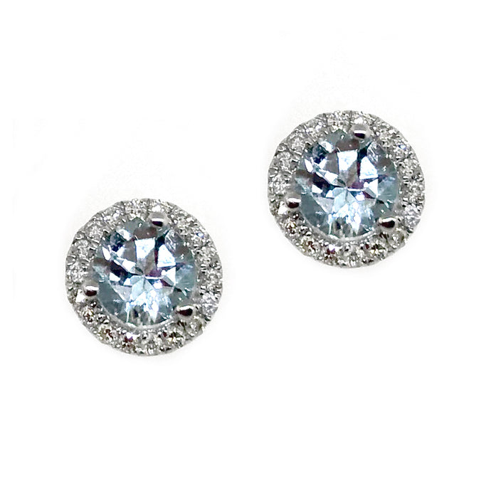14k White Gold Diamond & Aquamarine Stud Earrings