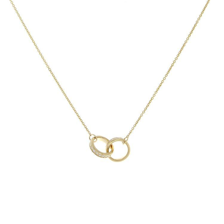 14k Yellow Gold Double Ring Diamond Necklace