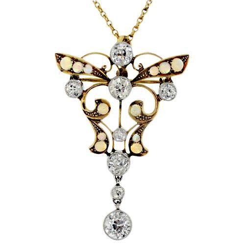 Estate 14k Yellow Gold Butterfly Pendant
