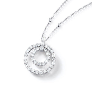 18k White Gold Round & Baguette Diamond Necklace