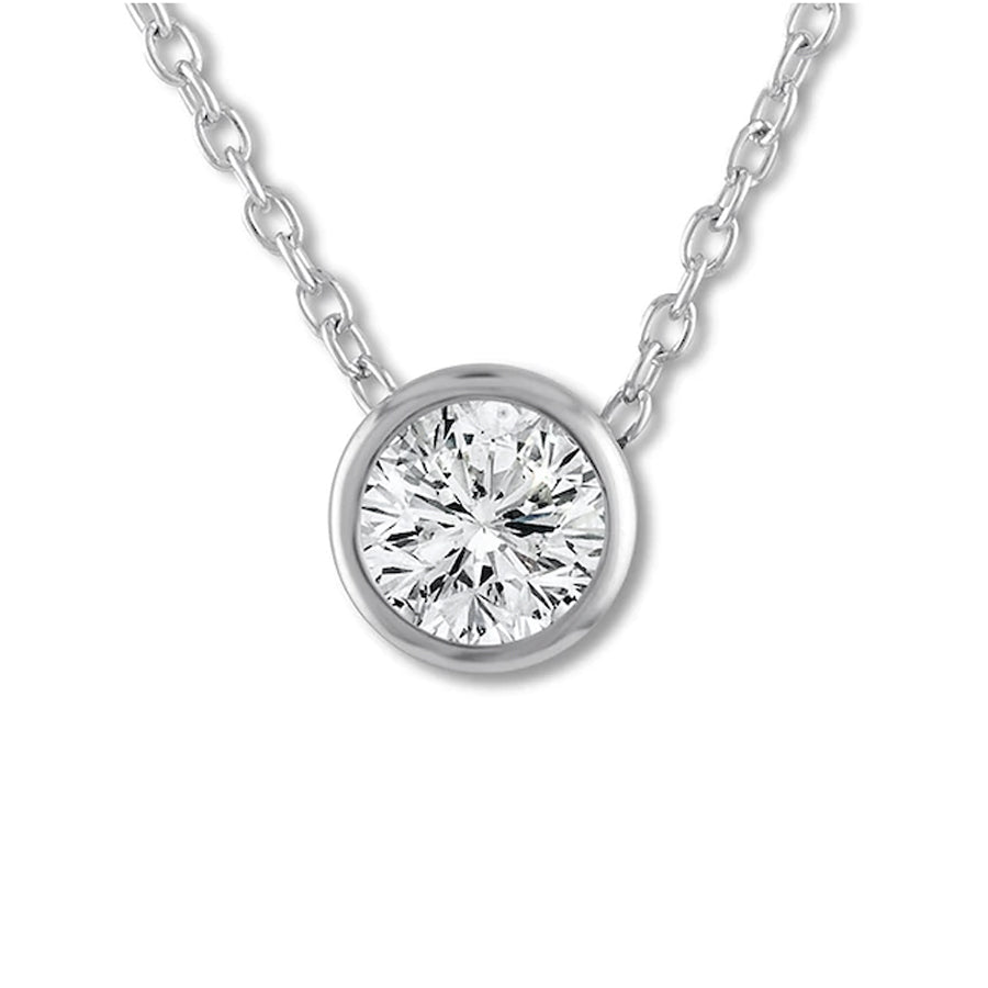 14k White Gold Diamond Bezel Pendant-.50ct