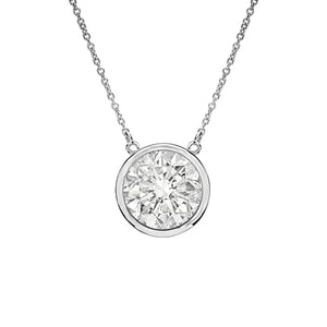 18k White Gold Diamond Bezel Pendant-.1.27ct K/I1