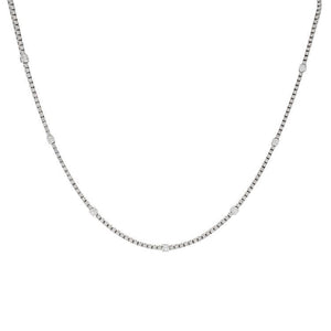 18k White Gold Diamond Tennis Necklace- 4.07ctw