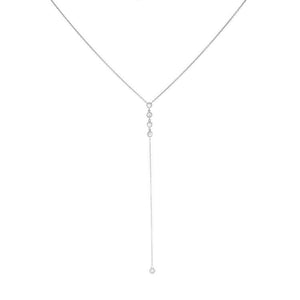 14k White Gold Diamond Lariat Necklace