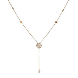 18k Rose Gold Diamond Drop Necklace