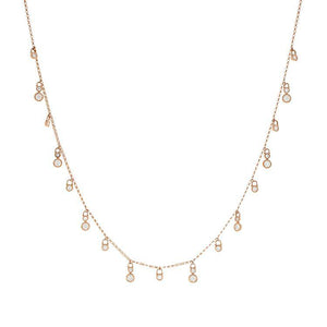 18k Rose Gold Diamond Dangle Necklace
