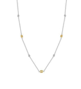 18k White Gold Yellow Diamond by the Yard Necklace