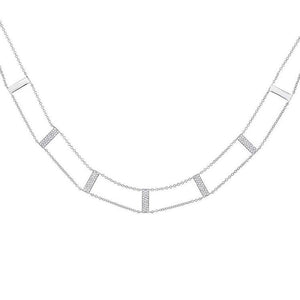 14k White Gold Diamond Ladder Necklace