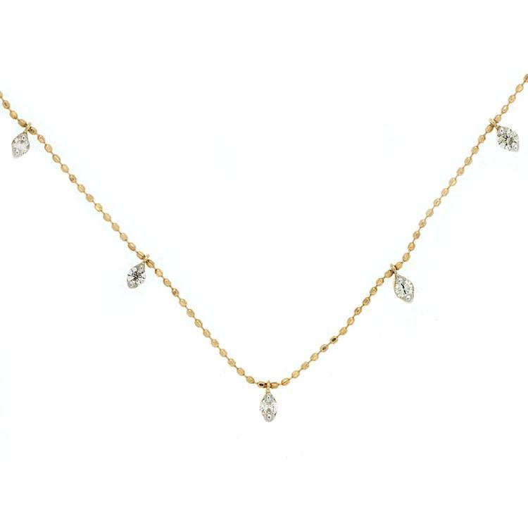 14k Yellow Gold Diamond Dangle Necklace