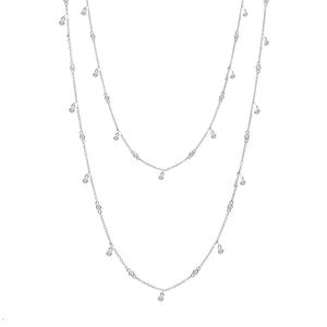 18k White Gold Diamond by the Yard Necklace-34""