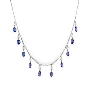 18k White Gold Diamond & Tanzanite Drop Necklace