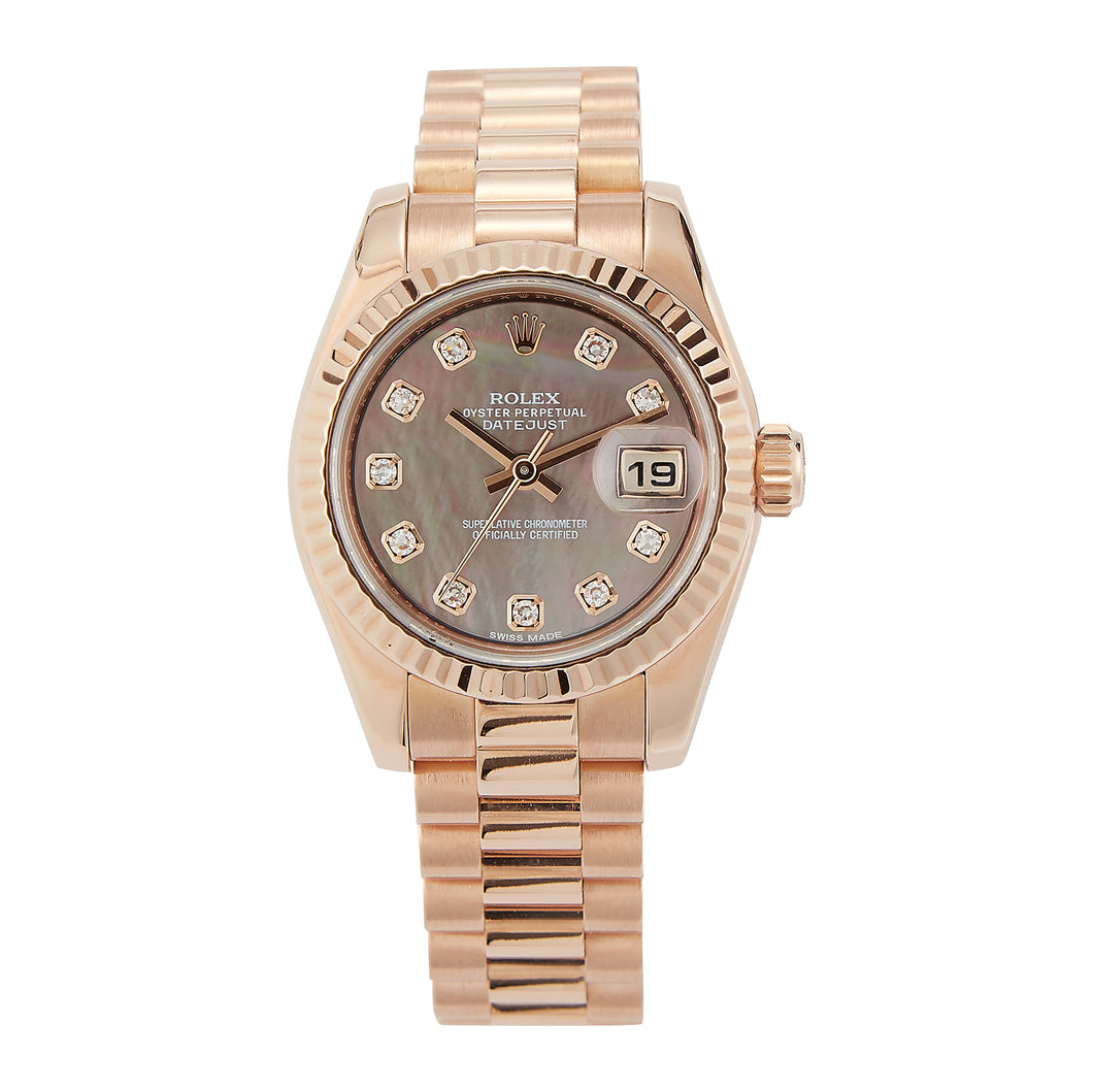 Pre-Owned 18k Everose Gold Ladies Rolex 26mm President - Model 179175