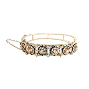 Estate 14k Yellow Gold Diamond Bangle Bracelet