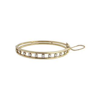 Estate 18k Yellow Gold Diamond Bangle