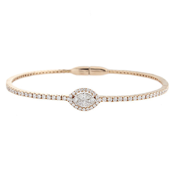 18k Rose Gold Diamond Cluster Bangle