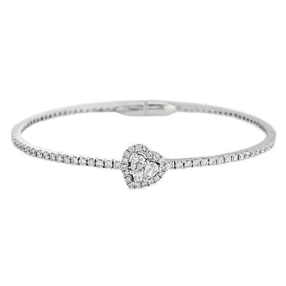 18k White Gold Diamond Cluster Heart Bangle
