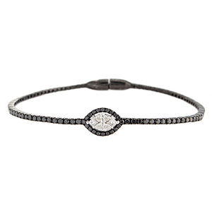 18k White Gold Black Rhodium Diamond Cluster Bangle