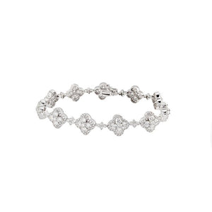 18k White Gold Diamond Flower Bracelet