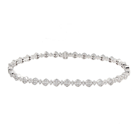 18k White Gold Diamond Cluster Bracelet