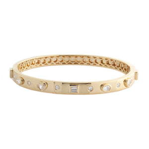 18k Yellow Gold Multi Diamond Bangle