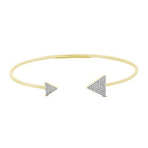 14k Yellow Gold Diamond Triangle Cuff Bracelet