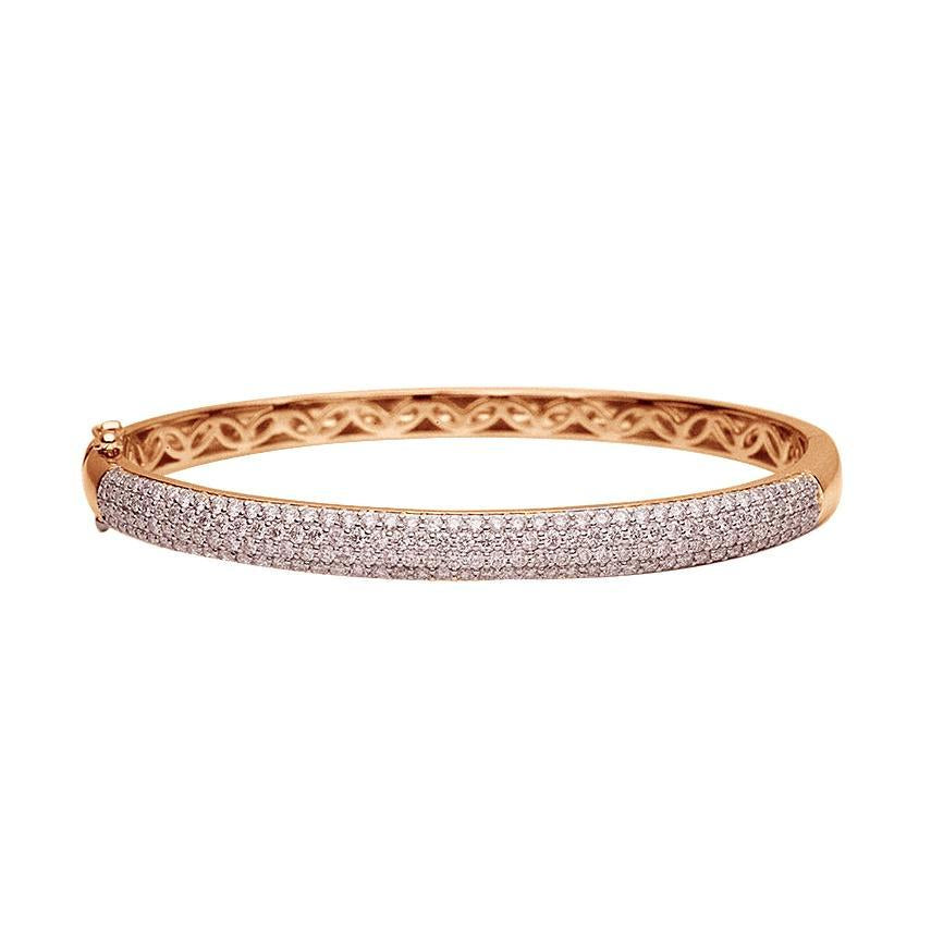18k Rose Gold Pave Diamond Bangle