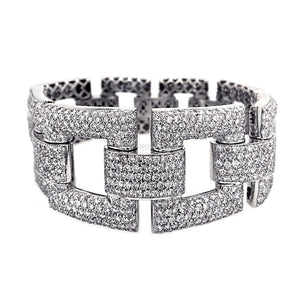 Estate 18k White Gold Pave Diamond Bracelet