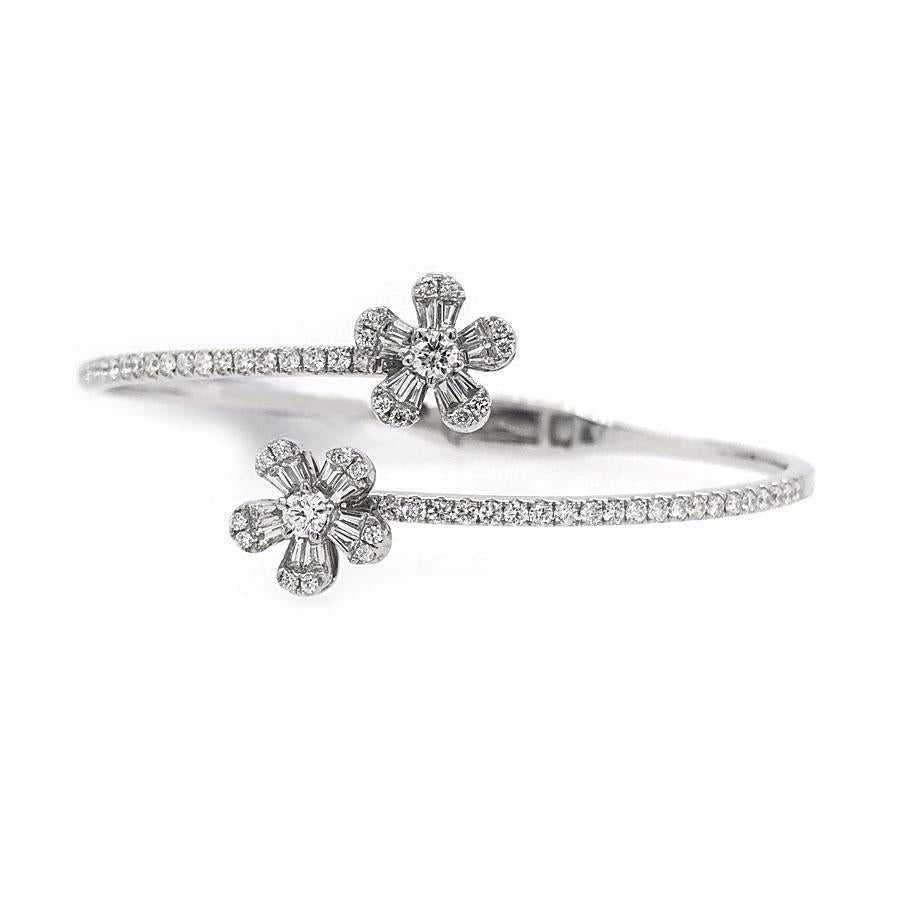 14k White Gold Diamond Flower Bangle