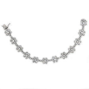 14k White Gold Diamond Flower Bracelet