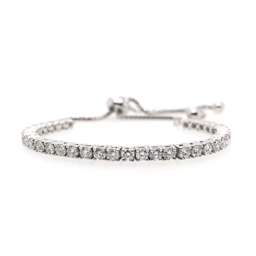 18k White Gold Bezel Set Diamond Bolo Bracelet
