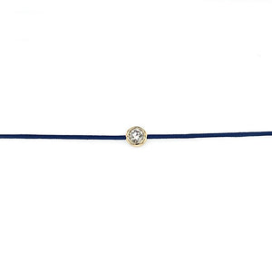18k Yellow Gold Bezel Set Diamond on Blue Cord