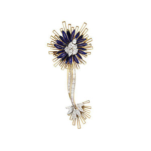Estate 18k Yellow Gold Diamond & Blue Enamel Brooch