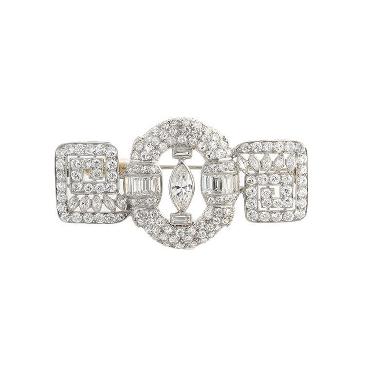 Estate Platinum Diamond Brooch