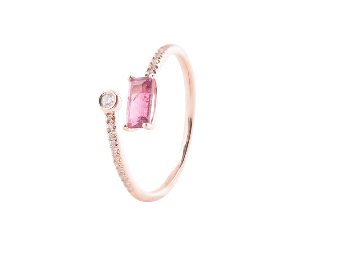 14k Rose Gold Diamond & Pink Tourmaline Wrap Ring