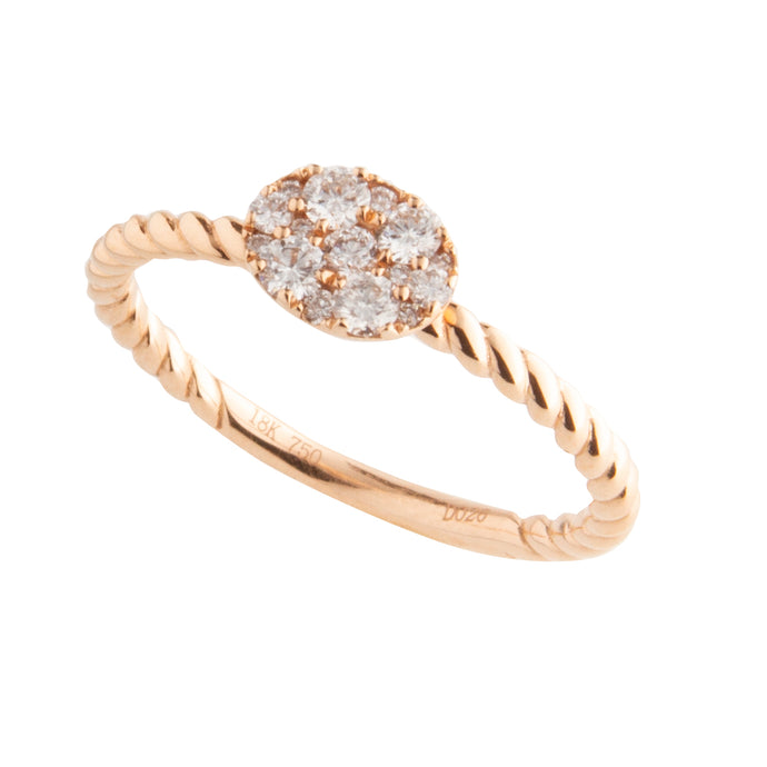 18K Rose Gold Twist Diamond Ring