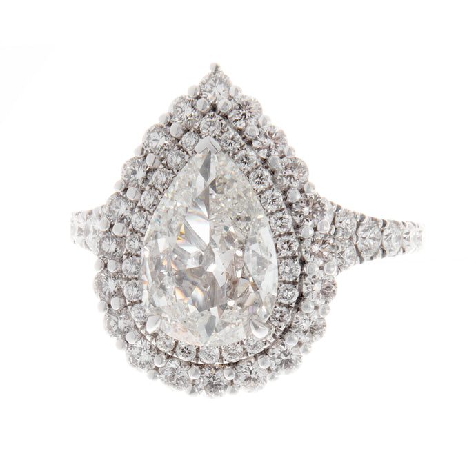 18k white gold pear diamond ring 1.10cts