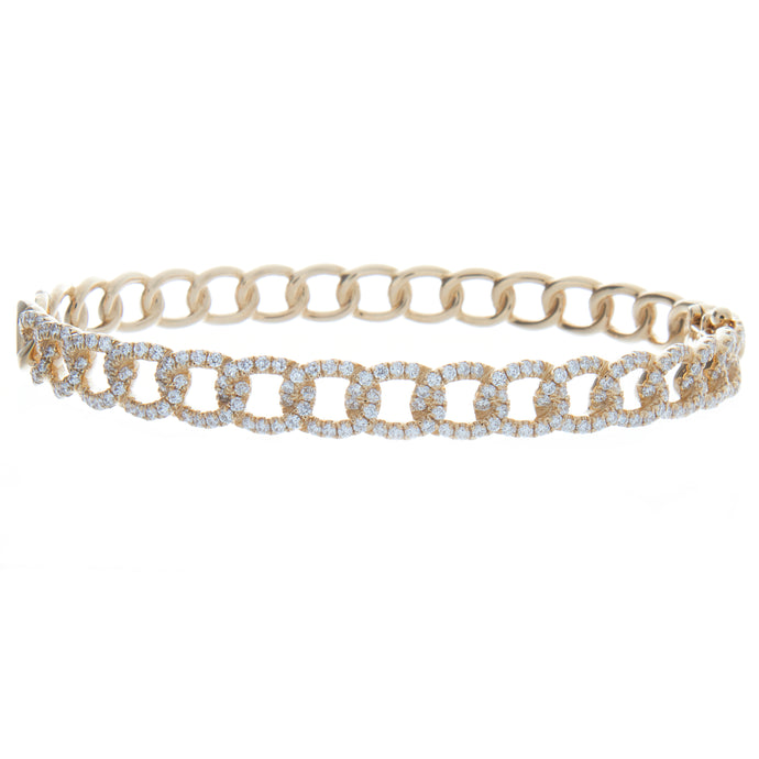 191 1.41ct 18k yellow gold diamond link bangle