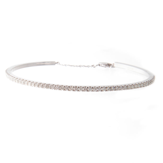 1ct 14k white gold diamond bangle with clasp