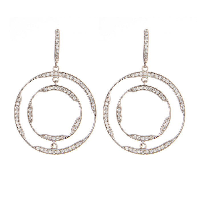 1cts 18k white gold diamond dangle hoops