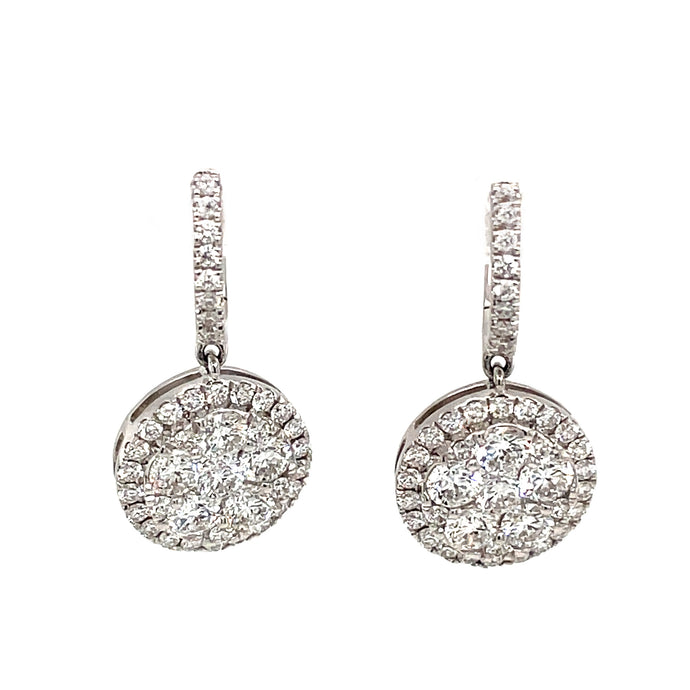 2.36ct 18k White Gold Diamond Cluster Drop Earrings