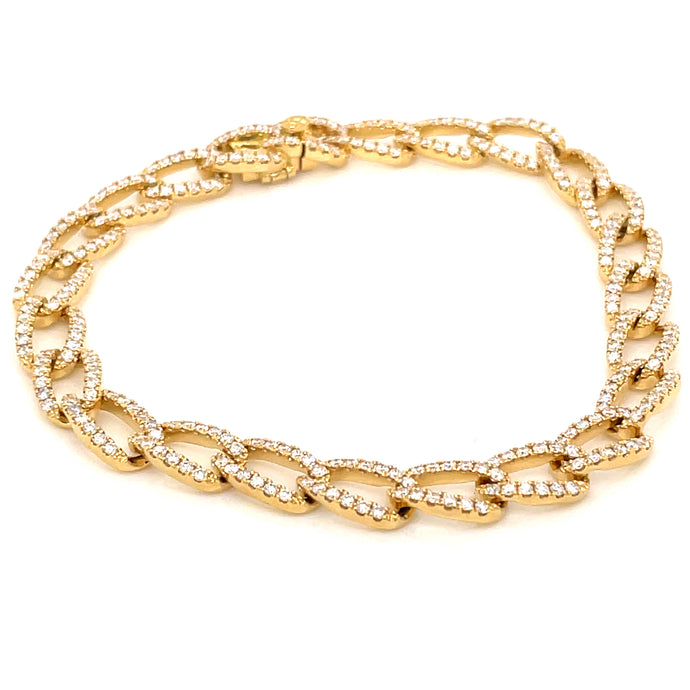 2.44ct 18k yellow gold diamond cuban link chain bracelet