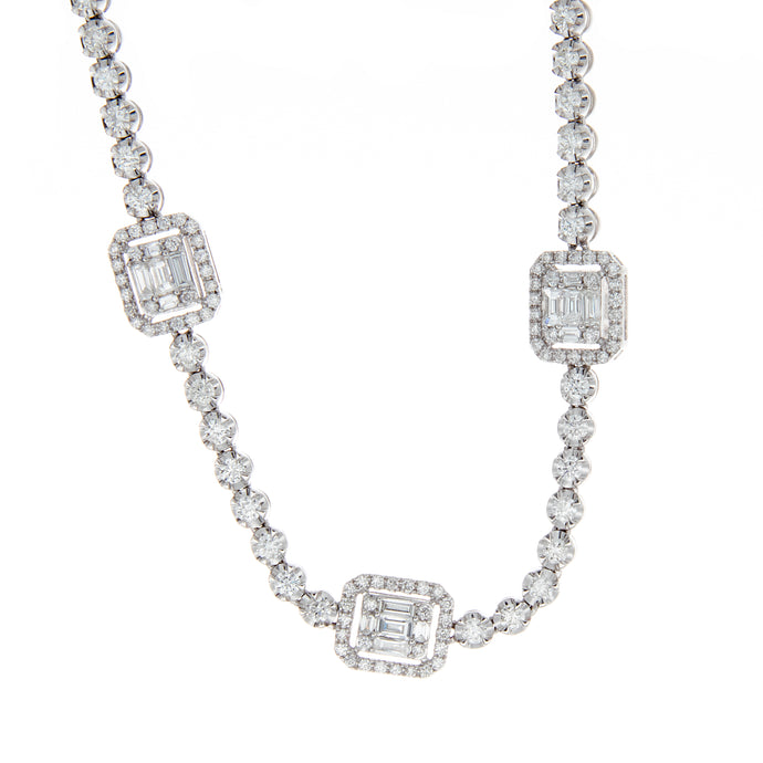 2.57ct 18k white gold baguette and bezel diamond necklace