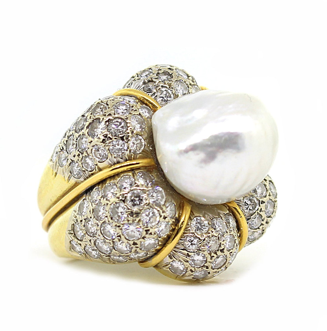Estate 18k Yellow Gold Diamond & Pearl Ring