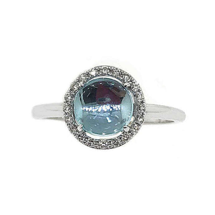 14k White Gold Diamond & Blue Topaz Ring