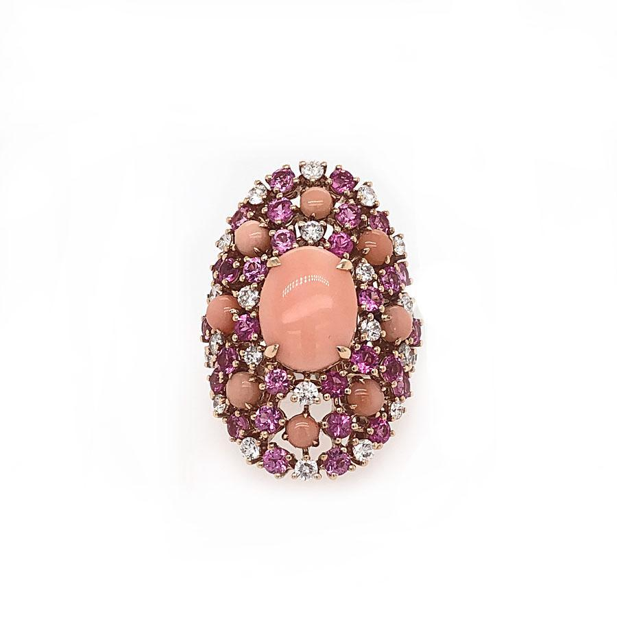 18k Rose Gold Diamond, Coral & Pink Sapphire Ring