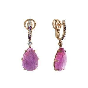 18k Rose Gold Diamond & Ruby Earrings