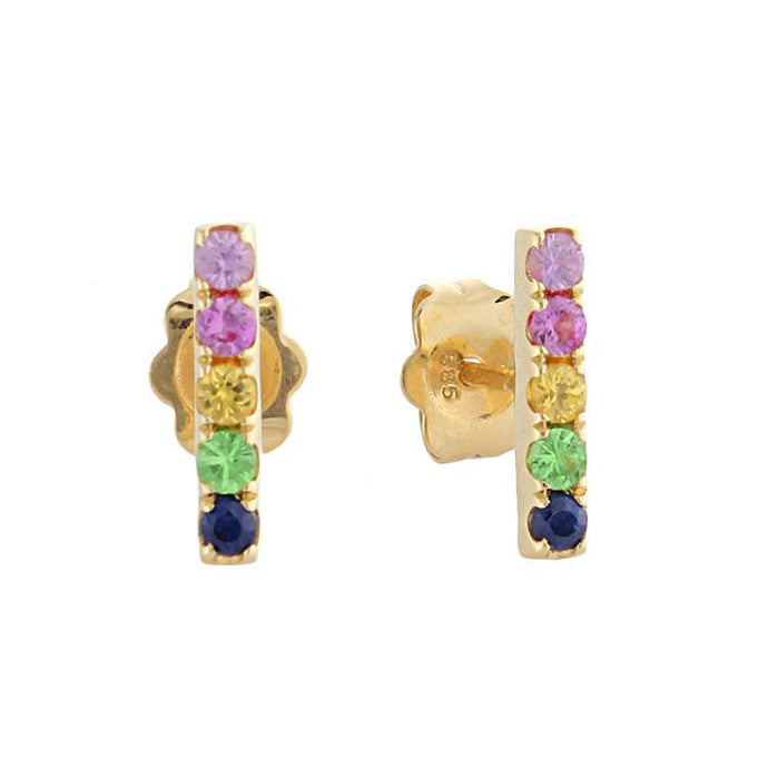 14k Yellow Gold Rainbow Gemstone Bar Earrings