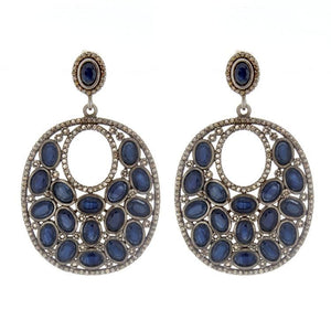 Sterling Silver Diamond & Sapphire Drop Earrings