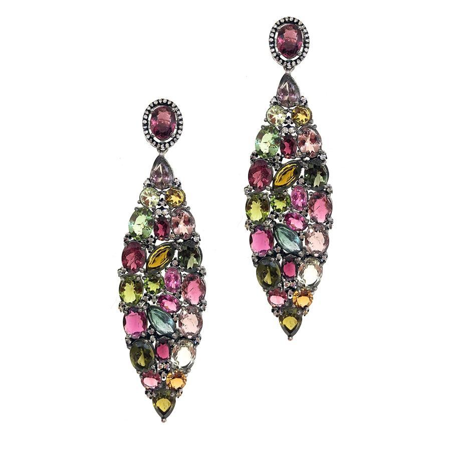 Sterling Silver Diamond & Tourmaline Earrings